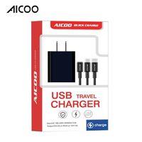 multifunktions-reiseladegerät großhandel-AICOO 3 in 1 Multifunktions-USB-Reiseladegerät mit Ladekabel Universal-Ladekopf für Typ C Micro Android Retail Package