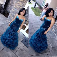 Wholesale pink organza ruffle prom dress resale online - 2019 Custom Made African Mermaid Prom Dresses Sweetheart Long Ruffles Organza Evening Party Formal Gowns