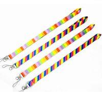 cordas de arco-íris venda por atacado-Correia do telefone celular do emblema do crachá da identificação da correia do pescoço do arco-íris cordão do telefone móvel das cores do poliéster 12