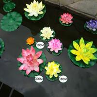 Wholesale orange lotus flower water resale online - 1pcs Cm Real Touch Artificial Lotus Foam Flowers White Water Lily Floating Pool Plants For Wedding Garden EVA Decoration