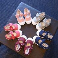 topuk ayakkabıları kız çocukları toptan satış-İlkbahar Yaz Sonbahar 2019 Çocuk Tuval Rahat Ayakkabılar Çocuklar Güzel Yay Düz Topuklu Ayakkabı Kızlar Prenses Düz Renk Sneakers