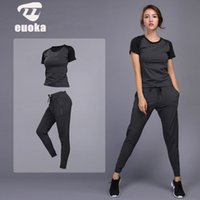 Wholesale gym clothes shorts women resale online - 2019 Women s sportswear Yoga Sets Jogging Clothes Gym Workout Fitness Training Yoga Sports T Shirts Pants Running Clothing Suit