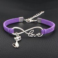 pulseras de amor para hombres. al por mayor-2018 venta caliente Sterling Infinito Amor del gato lindo colgante de la nueva manera de pulseras de cuero púrpura para las mujeres de los hombres de joyería Amistad Wrap joyería