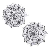 ingrosso pizzo web-2pcs Halloween Spider tableloth creativo Pizzo Ragno Nero Decor Web Tavola rotonda coperture per la decorazione di Halloween