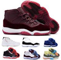 ingrosso scarpe da basket donna-11 11s Scarpe da Basket Sneakers 2019 Uomo Donna Gym Red Bred Platinum Tint Heiress Velluto Like 96 82 Space Jam Concord XI Shoes