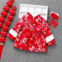 ko groihandel-Baby-Chinese Spring Festival Kleidung 2020 Neujahr Kinder verdicken Red Stickerei tangsui Warm Mädchen-Weinlese Qipao Langarm