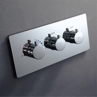 controladores de válvula al por mayor-Mezclador de válvula de ducha con caja integrada en la pared Interruptor de control de ducha de latón oculto Controlador termostático Válvulas de flujo de agua