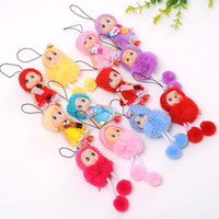 Wholesale keys for kids for sale - Group buy DHL Newest Korea Kids Baby Diomand Scarf Doll toy keychains plush ball doll For Girls Key Ring Greative bag chain