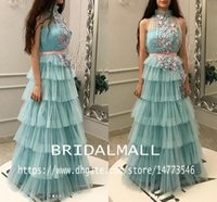 vestidos de fiesta largos azul hielo al por mayor-Cuello alto Ice Blue Tulle Vestidos de noche africanos con flores hechas a mano Dubai Arab Vestidos largos de baile Faldas con gradas Vestido de fiesta Celebrity
