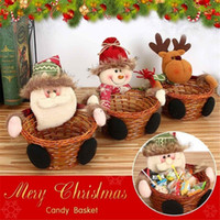 Wholesale gift basket boxes resale online - 3psc Home Decor Santa Clause Gift Candy Storage Basket Box Christmas Candy Storage Basket Box Chirstmas Gift