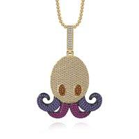 goldkrake großhandel-Iced Cute Octopus Anhänger Mit Freier Kette Gold Farbe Bling Kubikzircon Männer Hip Hop Halskette Schmuck Für Geschenk