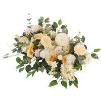 ortanca bitkiler toptan satış-DIY çiçek satır Acanthosphere Gül Okaliptüs düğün dekor çiçekler gül şakayık ortanca bitki karışımı çiçek kemer yapay çiçek sıra