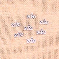 numara plakaları yap toptan satış-240 adet Antik Gümüş Kaplama Numarası 2020 Charms Kolye fit Yapma Bilezik Kolye Takı Bulguları Takı Diy Zanaat 13 * 9mm
