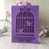 decoração dos pássaros do amor venda por atacado-20 pçs / lote cartões de convite de casamento oco corte a laser decoração com pássaros do amor na gaiola padrão cerimônia convites cartões