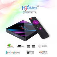 телевизионные приставки google tv оптовых-H96 MAX Smart TV Box Android 9,0 2 ГБ оперативной памяти 16 ГБ Rom Rockchip RK3318 4K USB3.0 H.265 Google Play IP TV приставка PK tx3 mini