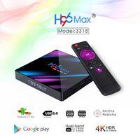 caja de tv android 2 gb ram al por mayor-H96 MAX Smart TV Box Android 9.0 2GB Ram 16GB Rom Rockchip RK3318 4K USB3.0 H.265 Google Play IP TV Set Top Box PK tx3 mini