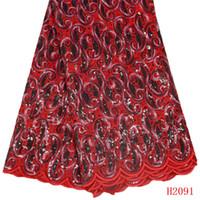 свадебные платья из турции оптовых-Органза Африканские Кружевные Ткани Красный Нигерия 5 Ярдов Высокого Качества Свадебное Платье Блесток Французский Кружевной Ткани X2091