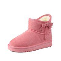 bottes de neige élégantes achat en gros de-AME Chaussures Femme Bottes Hiver Bottes De Neige Chaudes En Cuir Split Chaussures Élégantes En Cuir Femme
