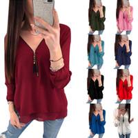 modelos de blusas de pescoço venda por atacado-9 cores mulheres blusas explosão modelos com decote em V de manga comprida zipper cross-bandwidth pine chiffon camisa 6203
