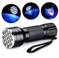 bombillas led ultravioleta al por mayor-21 bombillas led linterna UV portátil mini aleación de aluminio ultravioleta antorcha brillante 400 lúmenes antorchas con pilas lámpara de camping al aire libre