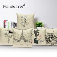 ingrosso cuscini francesi-Cuscino Nordic Covers French Paris Nero Cuscini bianchi Decorazione Cuscino per la casa Cuscino stile semplice Cuscino per letto