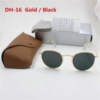 altın yuvarlak güneş gözlüğü toptan satış-Yxvaxl yüksek kalite moda yuvarlak güneş gözlüğü womens tasarımcı marka güneş gözlükleri altın metal siyah koyu 50mm cam lensler daha iyi kahverengi vaka