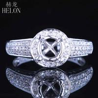 anillo redondo de 6mm. al por mayor-Hélon redonda 6mm 14K oro blanco sólido AU585 Pave 0.63ct Diamantes naturales del anillo de montaje semi compromiso de la boda Configuración mujeres joyería S200117
