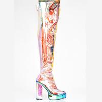 zapatilla botas botas mujer al por mayor-Botas impermeables transparentes para mujer en Europa y los Estados Unidos Zapatos de tacón alto para mujer Mostrar banquete Tacón alto