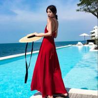 vestido informal hawai al por mayor-Saipan holiday dress sling leaky back falda tailandia beach holiday dress super fire vestido Hawaii viento