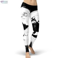 leggings estampados al por mayor-Nueva Marca Mi vecino Totoro Moonlight polainas de las mujeres de Kawaii historieta de la alta Leggins Leggings Impreso para la mujer pantalones Nave de la gota