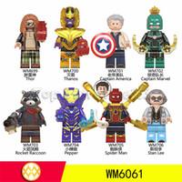 yapı taşları mini figürler toptan satış-Avengers 4 Loki Siyah Pather Demir Adam Tony Stark Hulk Thanos Yağ Thor Vizyon Mini Oyuncak Şekil Yapı Taşı Assebmle Blokları çocu ...
