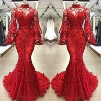 red beaded mermaid evening dresses 도매-2019 레드 레이스 머메이드 이브닝 드레스 섹시한 환상의 시인 긴 소매 하이 넥 Applied 골치 아픈 건 긴 파티 미식 축구 드레스 파티 드레스