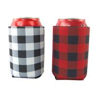 embrulho legal venda por atacado-Xadrez Vermelho Refrigerador Saco Blanks Neoprene Beer Cup Sleeve Pode Cobrir Winps Presente De Casamento Tin Wraps Ferramentas de Cozinha WX9-1216