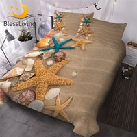 Wholesale starfish bedding for sale - Group buy BlessLiving Beach Seashell Duvet Cover D Print Bedding Set Pieces Realistic Home Textiles Sand Starfish Bed Cover Sets Queen T200409