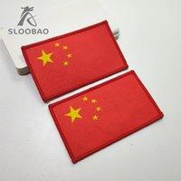 ingrosso patch personalizzati-Bandiera nazionale Marchio personalizzato / supporto cartaceo toppe per etichette tessute / toppe per sopraggitto / bordi merrow border Five star red flag