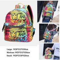 Wholesale stylish backpacks for ladies resale online - New Arrival Rainbow Color Graffiti Backpack for Women High Quality PU Shoulder Bag Stylish Ladies School Bags Bags
