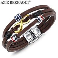pulseira miçangas para homens marrom venda por atacado-AZIZ BEKKAOUI Marrom Pulseira De Couro para os homens Infinito Pulseira de Aço Inoxidável Jóias Masculinas Trança Cadeia de Contas Acessórios
