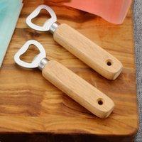 kauçuk takım kolları toptan satış-Paslanmaz çelik Bira Şişe Açacakları kauçuk ahşap saplı Şişe Açacakları Bar Araçları Gadget Mutfak Aletleri T2I5261