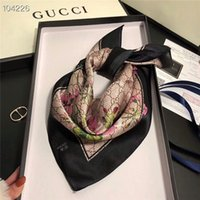Wholesale silky scarves resale online - Silky comfortable beautiful and elegant women spring and summer silk scarves cm letter flower square scarf without box