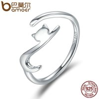 klebrige schmucksachen großhandel-BAMOER 100% 925 Sterling Silber Sticky Cat mit Long Tail Fingerring Frauen Ring Einstellbare Verlobungsring Schmuck SCR220