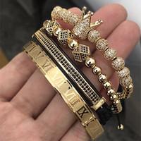 romen rakamları mücevherat toptan satış-4 adet / takım Klasik El Yapımı Örgü Bilezik Altın Hip Hop Erkekler Açacağı Cz Zirkon Taç Romen Rakamıyla Bilezik Lüks Takı J190618