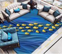 pisos de vinilo moderno al por mayor-Etiqueta de suelo 3D personalizada Lámina de oro pescado abstracto océano Baño Dormitorio Vinilo Piso Mural PVC Impermeable Papel pintado Pintura Moderno