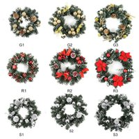 Wholesale home decor lighting resale online - Christmas Wreath With Battery LED Light String Front Door Hanging Home Decor