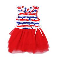 Wholesale leopard christmas tutu resale online - American Flag kids dress th Of July Girls Star Dress Kids Bandage Summer Star Baby Vest Princess Dress KKA6844