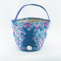 ingrosso barile blued-Easter Rabbit Practical Storage Basket Stampa portatile colorato rosa blu Lilly Handle Bag Eco Friendly Home Tela Barrel 13fgd1