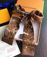 cinto de gravata de seda venda por atacado-Top qualidade de seda de luxo de dupla camada headband impresso tie cachecol tie multi-purpose das mulheres marca saco decorativo cinto exclusivo atacado 7 * 12