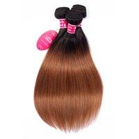 ombre bakire saç toptan satış-Stokta Perulu düz dalga İnsan virgin saç Ombre Renk İnsan saç demetleri Peruk Toptan İnsan Saç Düz