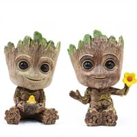 Wholesale toy pots for sale - Groot Flowerpot Flower Pot Planter Action Figures Guardians of The Galaxy Toy Tree Man Pen Flower Pots LJJK1637