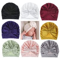 Wholesale girls 18 hat for sale - Group buy 18 colors Baby Hat Cotton Bow Turban Hat Baby Photography Props Kids Beanie Infant Accessories Baby Cap for Girls Boy Child caps