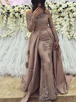 Discount nude mesh dress crystals Sheer Mesh Top Lace Mermaid Long Evening Dresses 2020 Sheer Long Sleeves Tulle Applique Beaded Formal Prom Party Gowns Celebrity Dresses